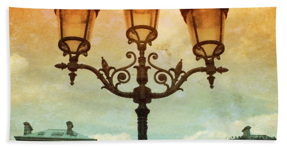 Paris Lamps Beach Towel featuring the photograph Paris Street Lamps With Textures And Colors by Carol Groenen