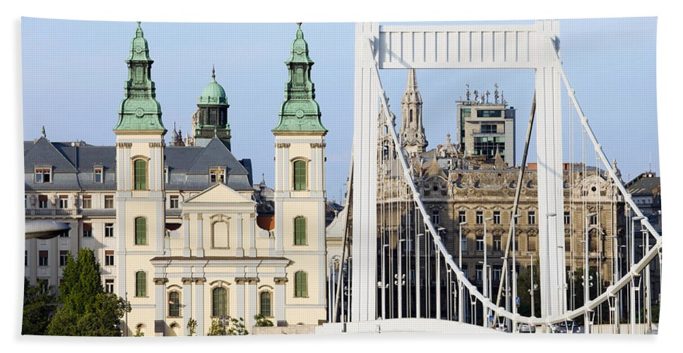 Architecture Beach Towel featuring the photograph Parish Church And Elizabeth Bridge In Budapest by Artur Bogacki