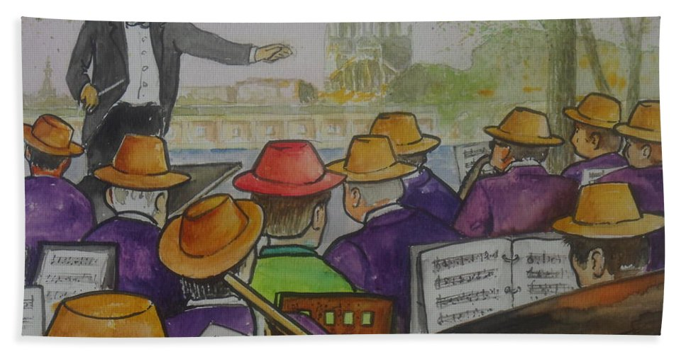Paris Seine River Hats Band Maestro Conductor Red Hat Rebel Beach Sheet featuring the painting Parisian Hat Band Across From Notre Dame Cathedral by Frank Hunter