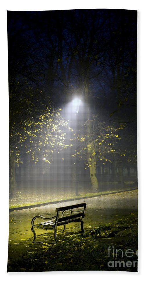 Park Bench At Night Beach Sheet For Sale By Lee Avison
