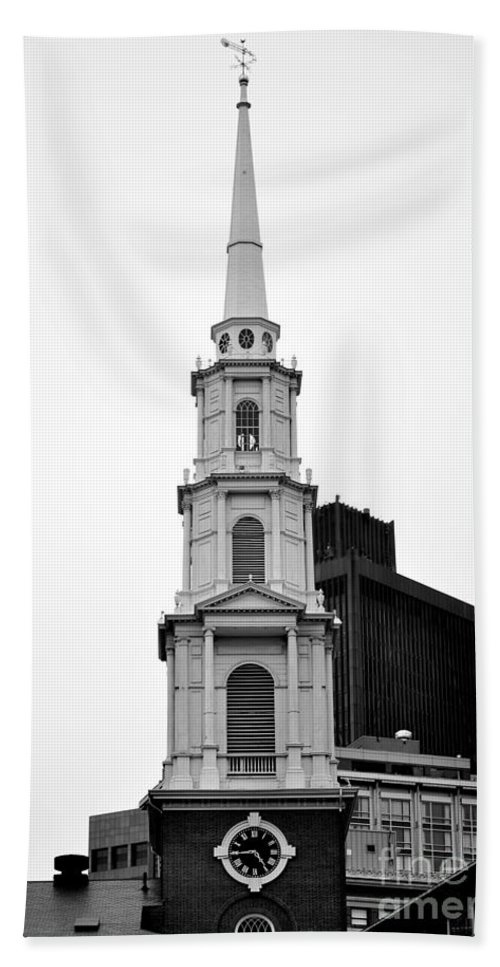 Church Beach Towel featuring the photograph Park Street Church Boston Black And White by Staci Bigelow