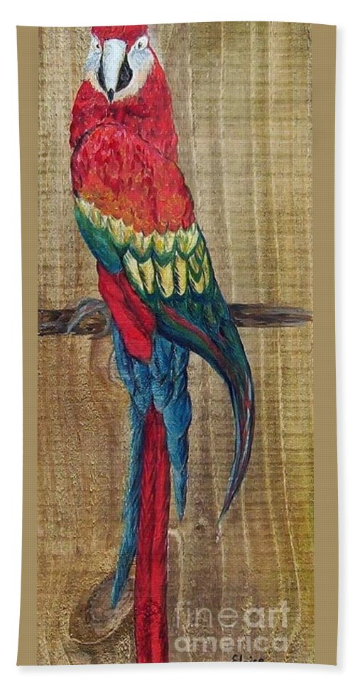 Parrot Beach Towel featuring the painting Parrot - Scarlet Macaw by Eloise Schneider Mote
