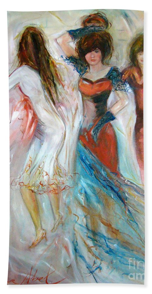 Contemporary Art Beach Towel featuring the painting Party Time by Silvana Abel