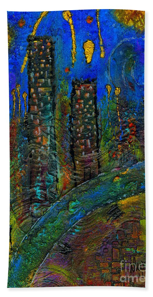 Acrylic Beach Towel featuring the mixed media Party Town by Angela L Walker