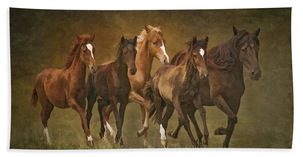 Horses Beach Towel featuring the photograph Paso Peruvians by Priscilla Burgers