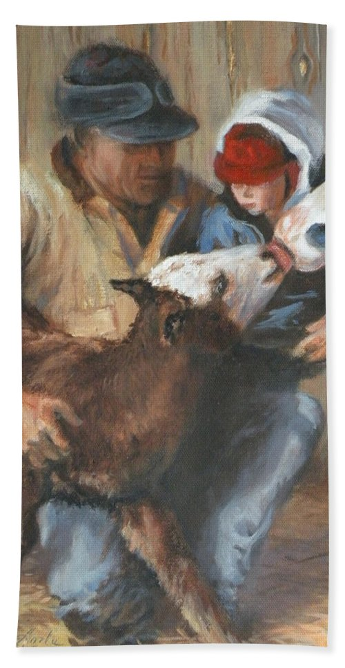 Ranching Beach Towel featuring the painting Passing The Torch by Mia DeLode