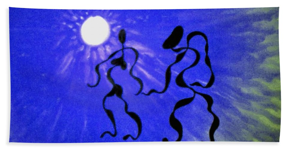 Genio Beach Towel featuring the mixed media Passion Into The Night by Genio GgXpress