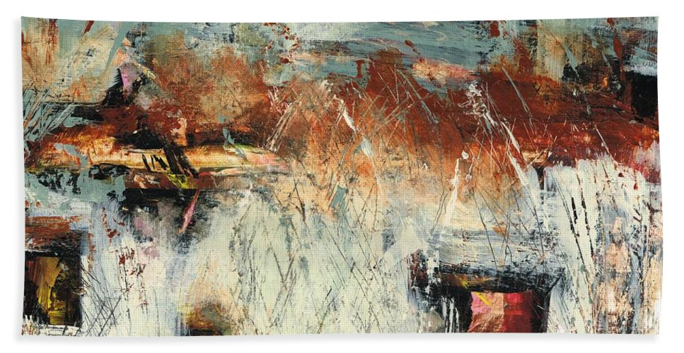 Abstract Landscapes Beach Towel featuring the painting Pasture Grasses by Frances Marino