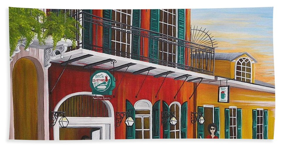 New Orleans Beach Towel featuring the painting Pat O's Courtyard Entrance by Valerie Carpenter