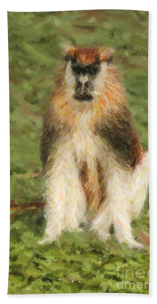 Patas Monkey Beach Towel featuring the digital art Patas Monkey Erythrocebus Patas by Liz Leyden