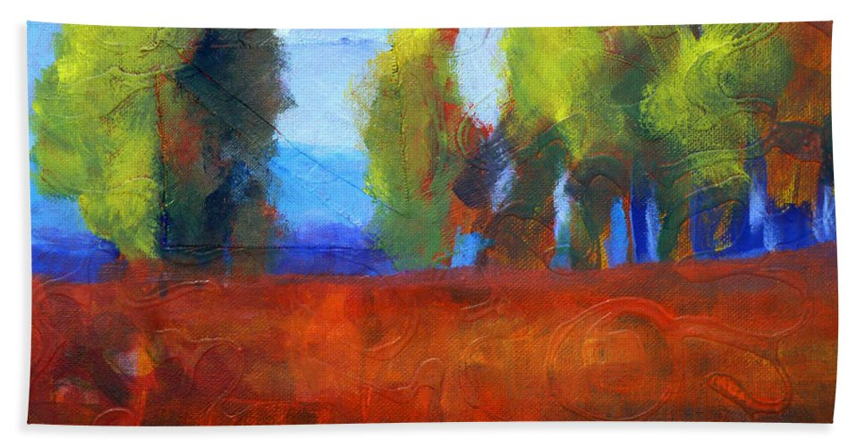 Abstract Landscape Beach Towel featuring the painting Patching The Environment by Nancy Merkle