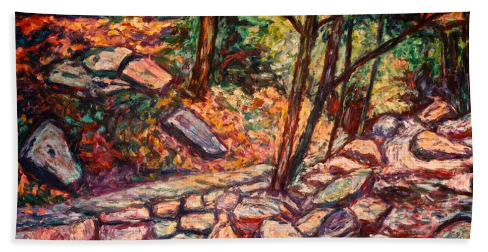 Landscape Beach Towel featuring the painting Path To The Cascades by Kendall Kessler