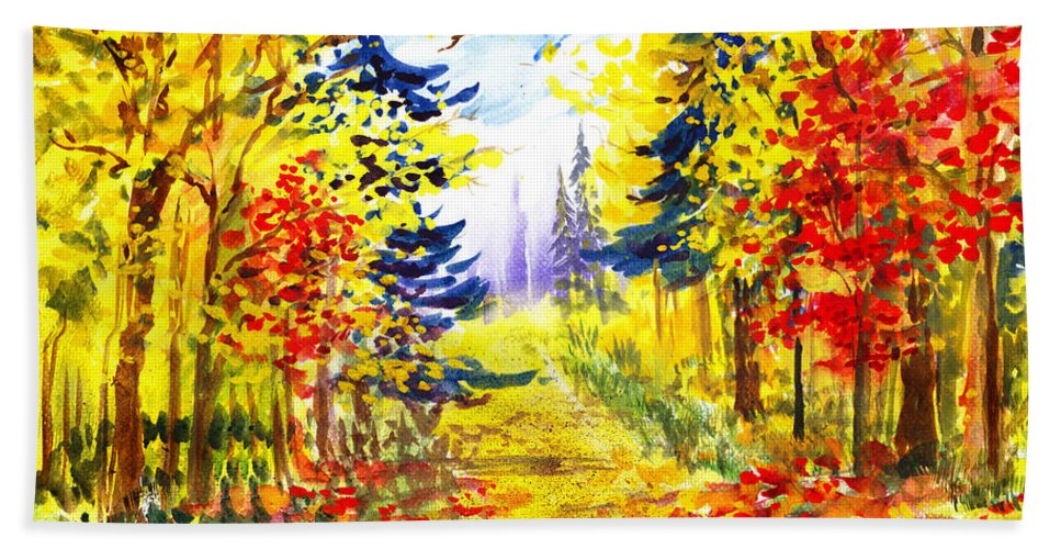 Landscape Beach Towel featuring the painting Path To The Fall by Irina Sztukowski