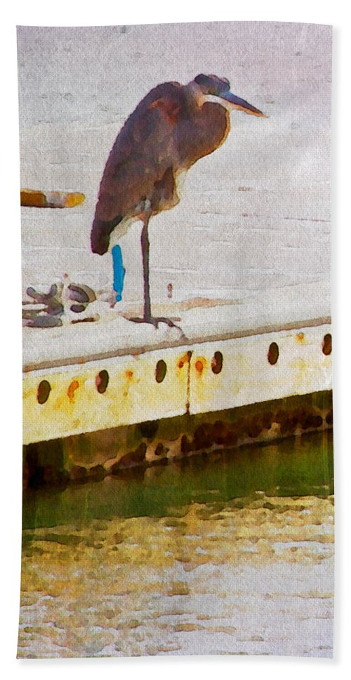 Egret Bird Water Float Dock Scenic Waterfowl Alicegipsonphotographs Beach Towel featuring the photograph Patiently Pensive by Alice Gipson