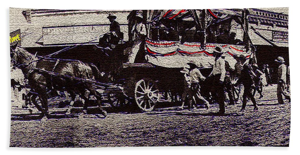 Patriotic Wagon Stone And Congress Tucson Arizona C.1900 Restored Color Texture Added 2008 Beach Towel featuring the photograph Patriotic Wagon Stone And Congress Tucson Arizona C.1900 Restored Color Texture Added 2008 by David Lee Guss