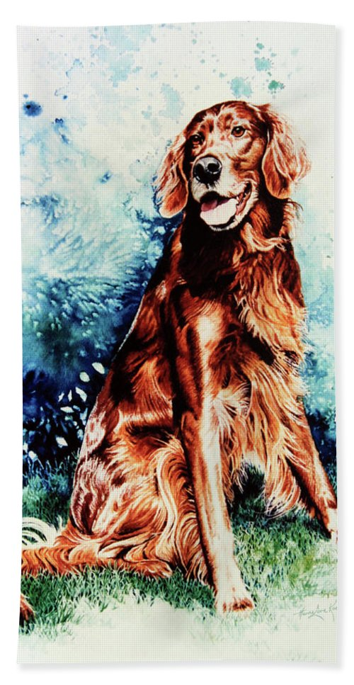 Dog Portrait Beach Towel featuring the painting Patton by Hanne Lore Koehler