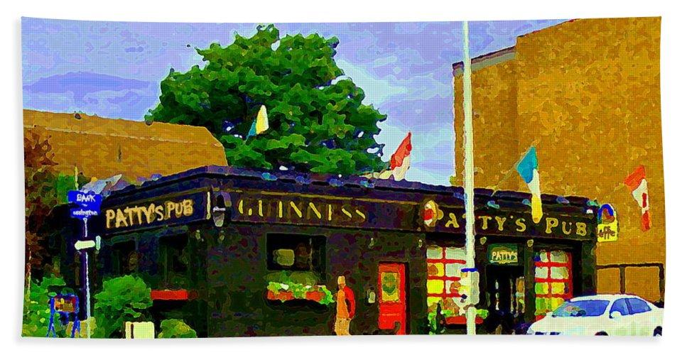 Ottawa Beach Towel featuring the painting Patty's Pub Guinness On The Glebe Restaurant Bar Bank And Ossington Paintings Of Ottawa Art Cspandau by Carole Spandau
