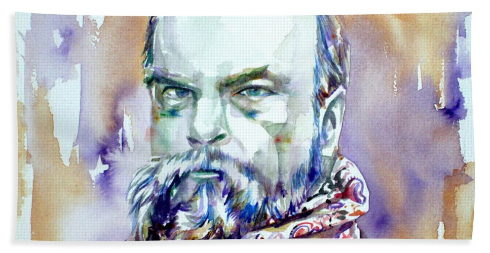 Paul Verlaine Beach Towel featuring the painting Paul Verlaine - Watercolor Portrait.1 by Fabrizio Cassetta
