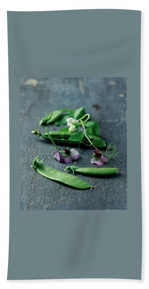Fruits Beach Towel featuring the photograph Pea Pods And Flowers by Romulo Yanes