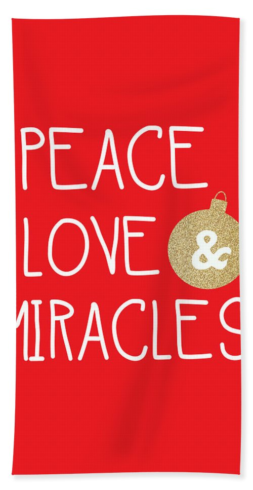 Christmas Beach Towel featuring the mixed media Peace Love and Miracles with Christmas Ornament by Linda Woods