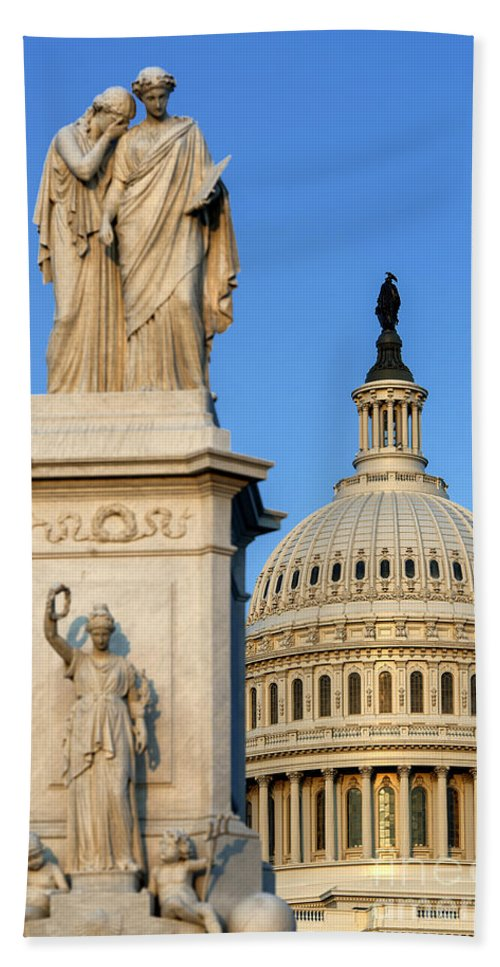 America Beach Towel featuring the photograph Peace Monument And Capitol by John Greim