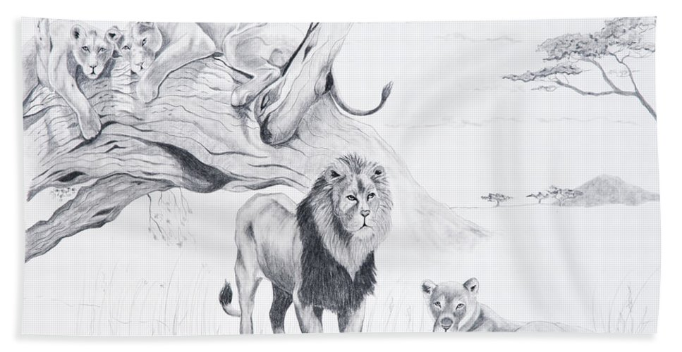 Lion Beach Towel featuring the drawing Peaceful Pride by Joette Snyder