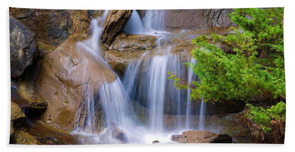 Waterfall Beach Towel featuring the photograph Peaceful Waterfall by Jordan Blackstone