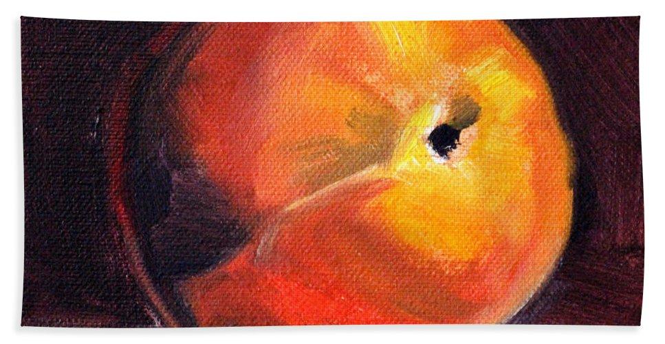 Peach Beach Towel featuring the painting Peach 1 by Nancy Merkle