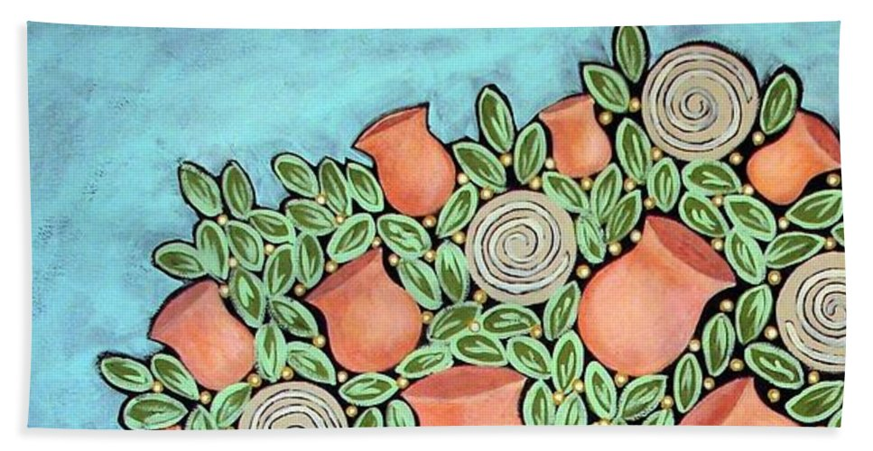 Vase Beach Towel featuring the painting Peach Blossoms And Licorice Swirls by Linda Stewart
