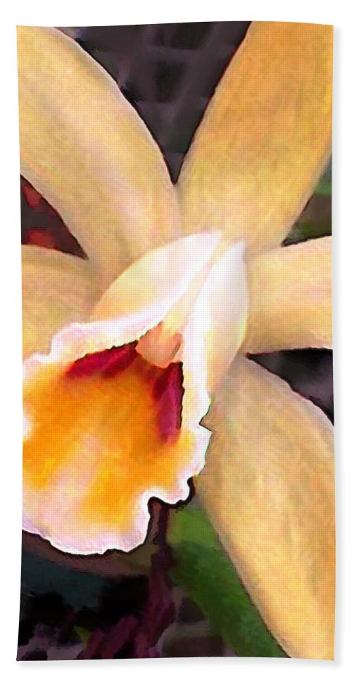 Orchid Beach Towel featuring the painting Peachy Cattleya Orchid by Elaine Plesser