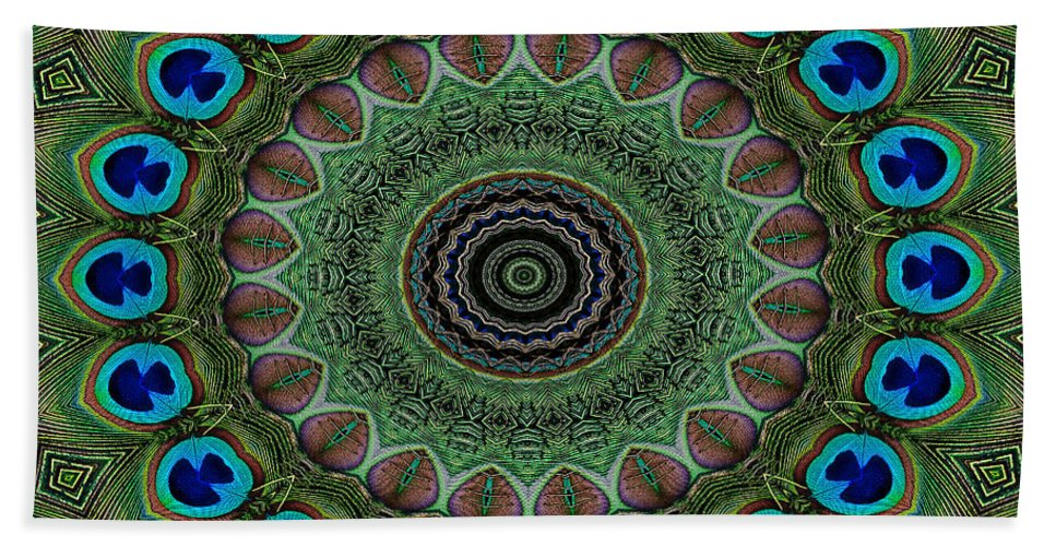 Peacock Beach Towel featuring the digital art Peacock Abstract by Bel Menpes
