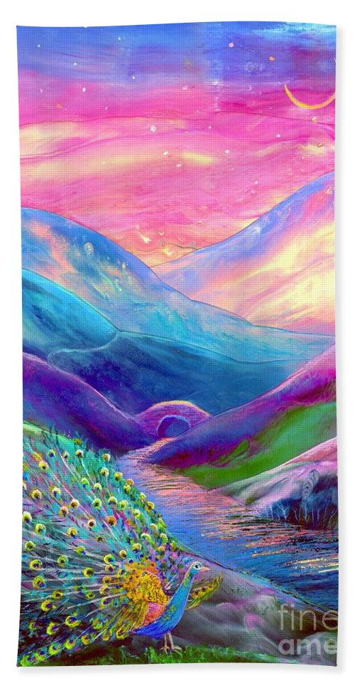 Sunset Beach Towel featuring the painting Peacock Magic by Jane Small