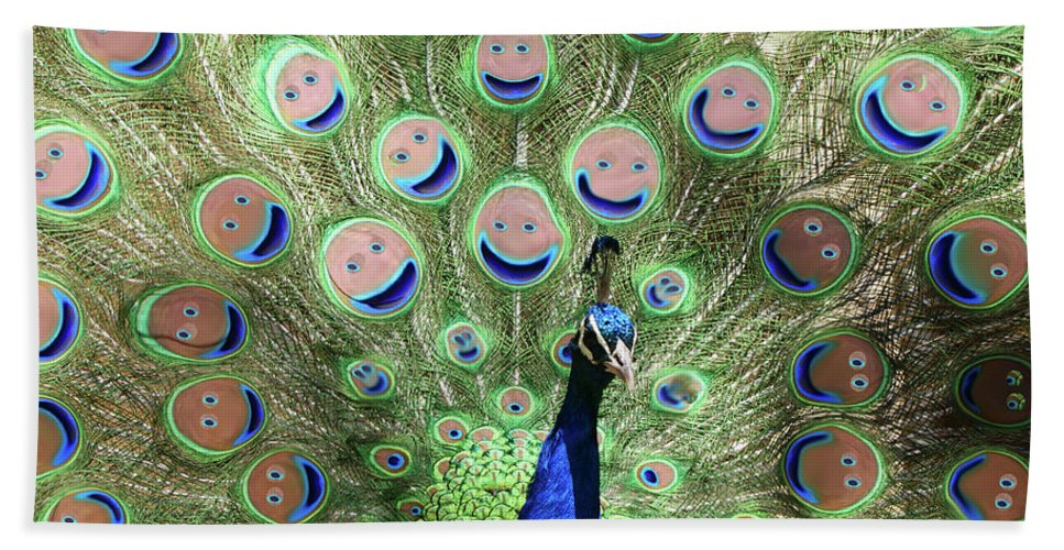 Bird Beach Towel featuring the photograph Peacock Smiles by Ernie Echols