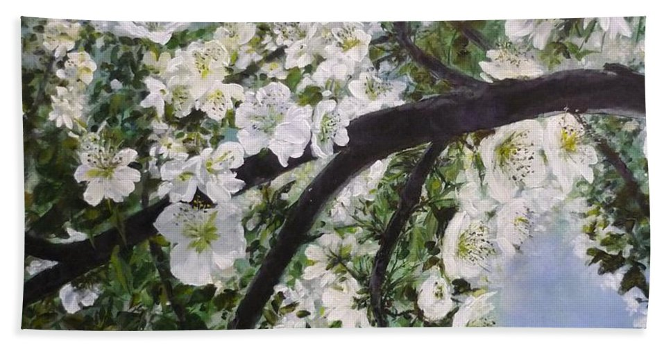 Blossom Beach Towel featuring the painting Pear Blossom by Lizzy Forrester