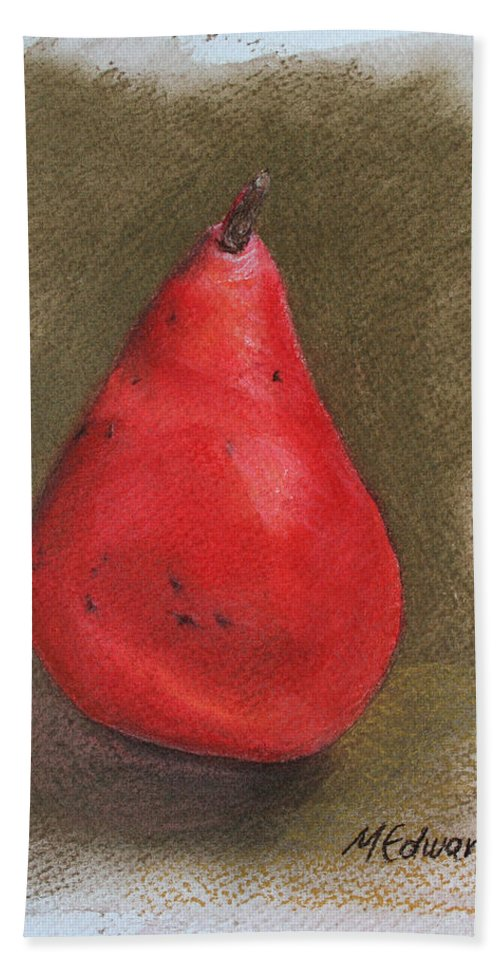Red Pear Beach Towel featuring the pastel Pear Study 2 by Marna Edwards Flavell