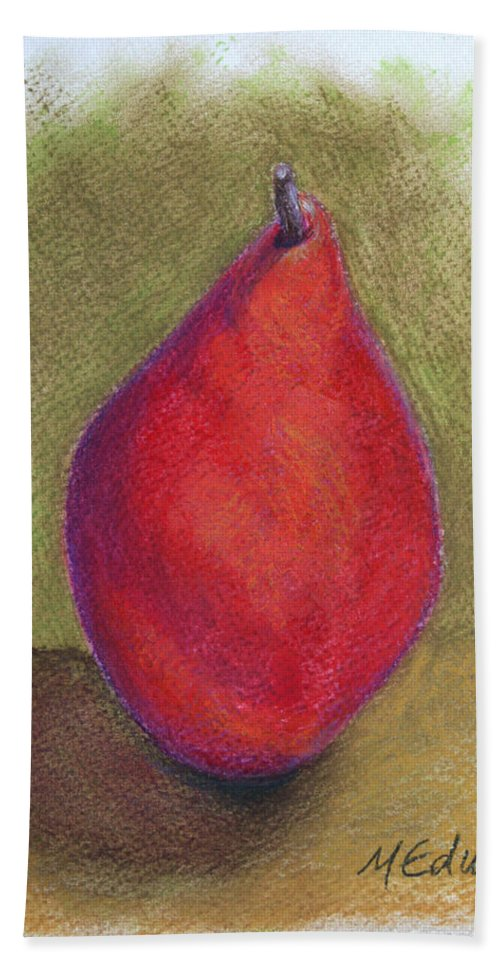 Red Pear Beach Towel featuring the pastel Pear Study 3 by Marna Edwards Flavell