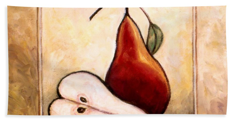 Pear Beach Towel featuring the painting Pears Diptych Part Two by Linda Mears