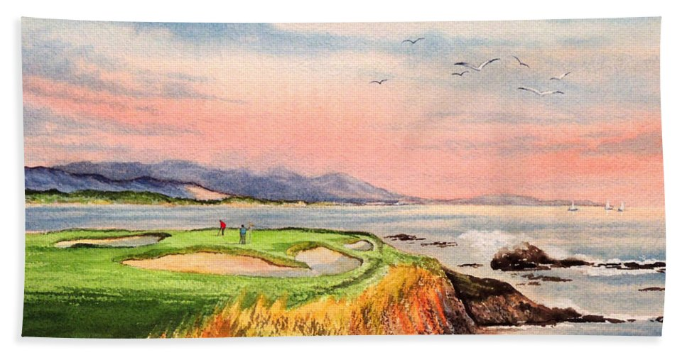 Golf Beach Towel featuring the painting Pebble Beach Golf Course Hole 7 by Bill Holkham