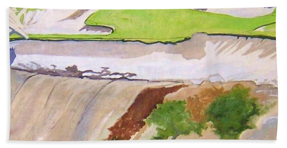 Pebble Beach Golf Course Is A Magical Place. To Walk Beach Towel featuring the painting Pebble Beach Sand by Rebecca Lou Mudd