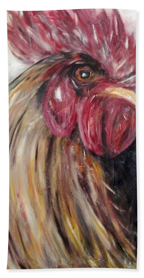 Beach Towel featuring the painting Pecking Order by Chuck Gebhardt