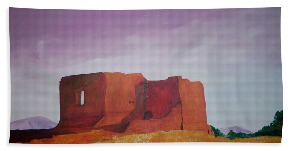 Western Beach Towel featuring the painting Pecos Mission Landscape by Eric Schiabor