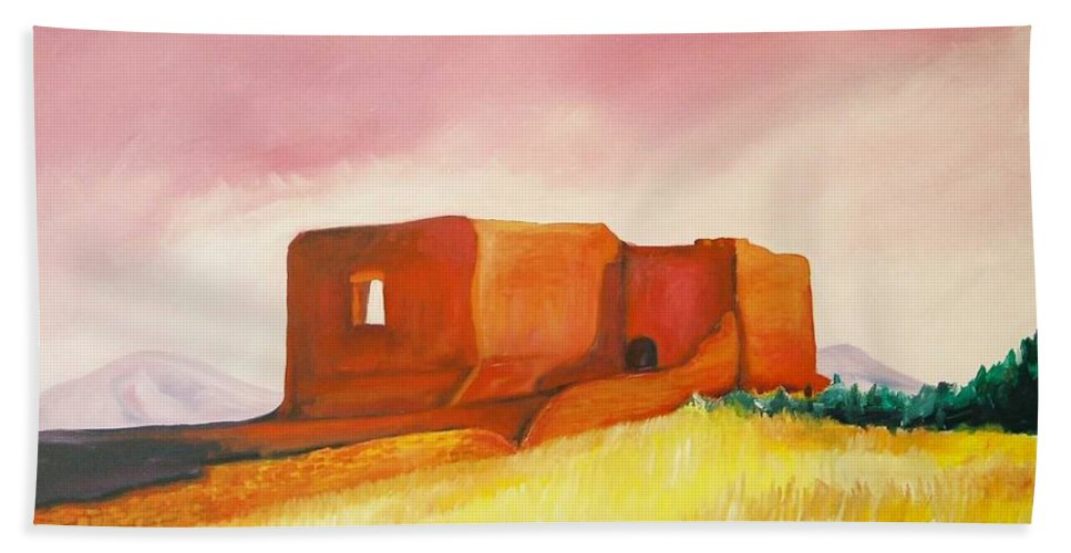 Western Landscapes Beach Towel featuring the painting Pecos Mission Nm by Eric Schiabor
