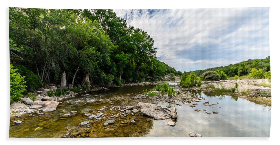 Pedernales River Beach Towel featuring the photograph Pedernales River - Downstream by David Morefield