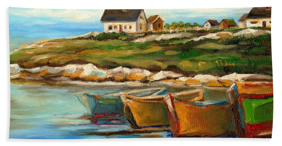 Peggys Cove Beach Towel featuring the painting Peggys Cove With Fishing Boats by Carole Spandau