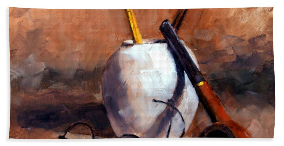 Still Life Beach Towel featuring the painting Pencils and Pipe by Jim Gola