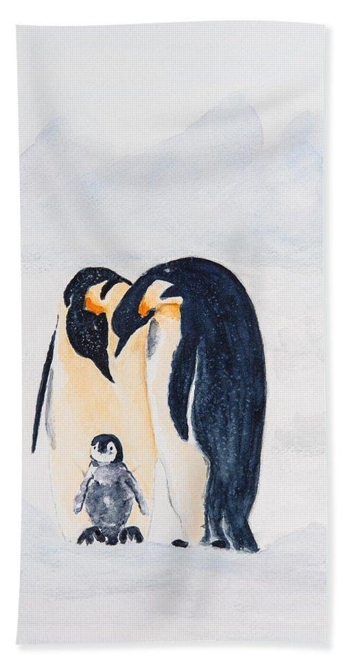 Birds Penguins Beach Towel featuring the painting Penguin Family by Elvira Ingram