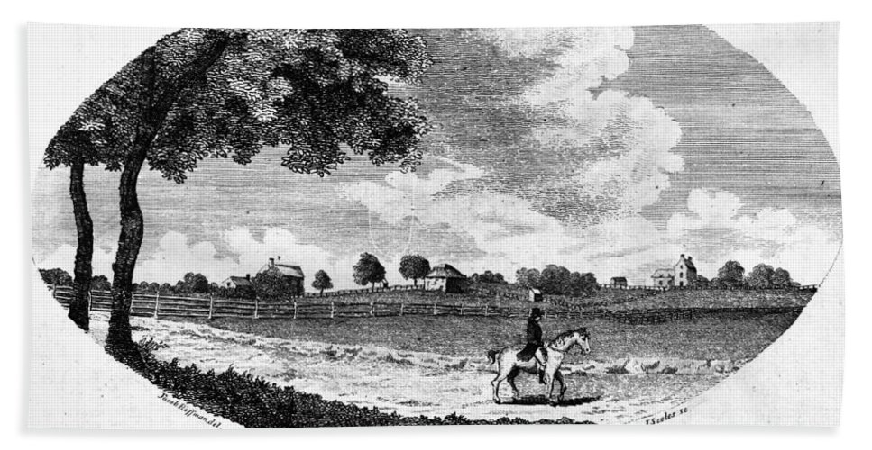 1795 Beach Towel featuring the painting Pennsylvania Farm, 1795 by Granger