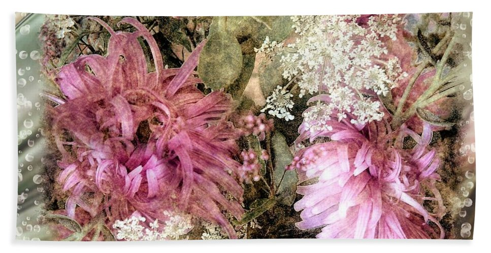 Flowers Beach Towel featuring the painting Penny Postcard Pearlescent by RC DeWinter