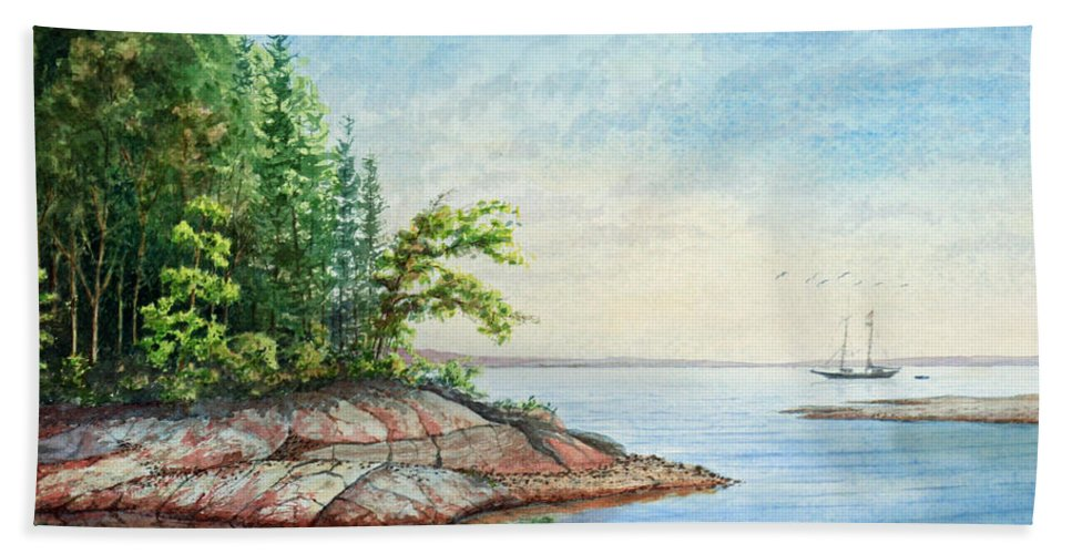Landscape Beach Towel featuring the painting Penobscot Inlet by Roger Rockefeller