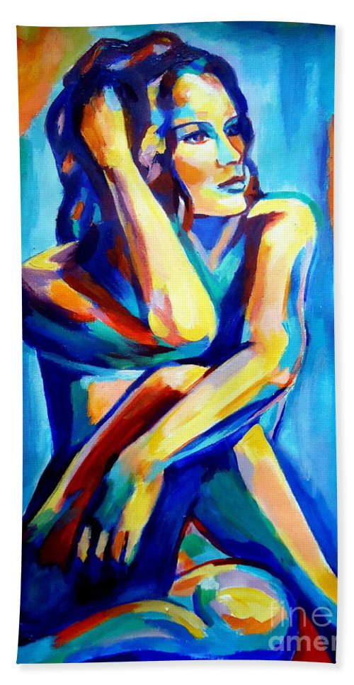 Nude Figures Beach Towel featuring the painting Pensive Figure by Helena Wierzbicki